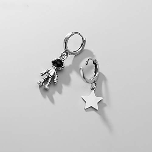 QIN 925 Sterling Silver Creative Astronaut Star Asymmetric Hoop Pendientes Oreja de Mujeres