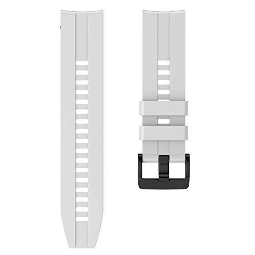 CMYYFA Correa de silicona deportiva de 22 mm para Huawei para Honor Magic Watch GT Active Strap para Samsung Galaxy Watch 46 mm Gear S3 (color de la correa: blanco, ancho de la correa: 22 mm)
