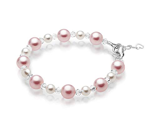 Baby Crystals Pretty Sterling Silver Bracelets for Girls with Pink and White Swarovski Simulated Pearls, Girls Jewelry, Pearl Bracelet for Girls, Birthday Gifts, Flower Girls