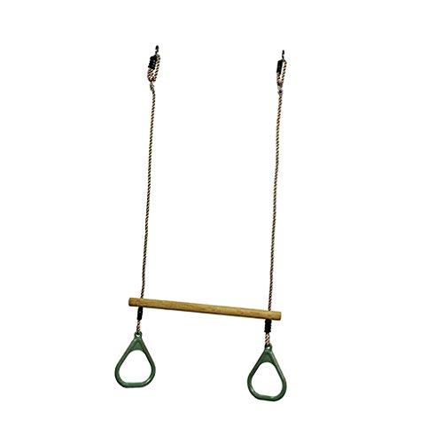 D DOLITY Kinder Holz Schaukel mit Kunststoff Ring Set, Sitzschaukel und Turngerät in Einem, für Drinnen & Draußen Spielen - Grün