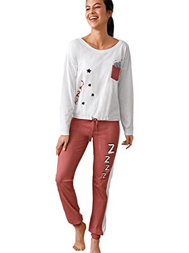 Pijama Camiseta con Bolsillo de plastrón y bajo Ajustable Mujer - 030226