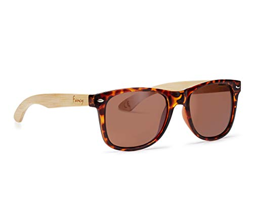 Fancy Eyewear Zonnebrillen, gepolariseerde glazen, voor dames en heren, 100% UVA/UV 400 bescherming, spiegelende glazen, zonnebril met houten beugel