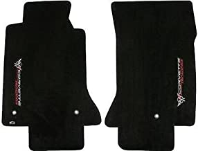 Fits 1997-2004 C5 Corvette Classic Loop Black Floor Mats - Crossed Flags & Racing Logos Facing Door Sill