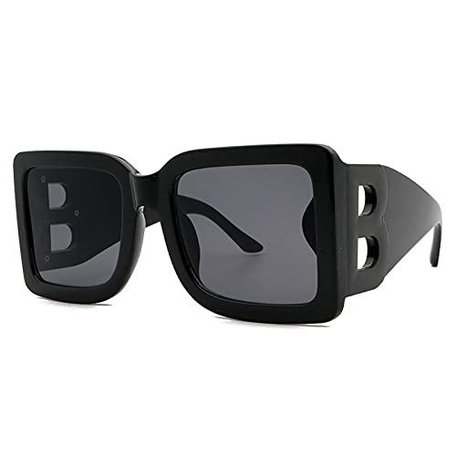 HQPCAHL Gafas De Sol Cuadradas De Gran Tamaño para Mujer, Hombre, Moda, Parte Superior Plana, Montura Grande, Gafas,B