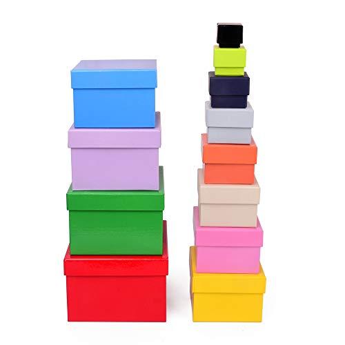 ewtshop® Geschenkboxen, 12, 12er Set, stabiles Material mit Buntem Kraftpapier überzogen, auch für Scrapbooking