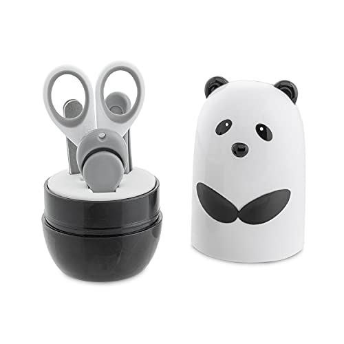 Chicco- Set Manicure Panda per Bambini, Composto da Forbicina, Tagliaunghue, Pinzetta, Lima