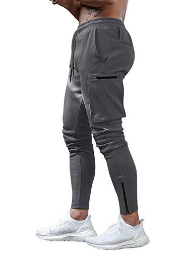Yidarton - Pantalones de chándal para hombre, pantalones de deporte, fitness, corte ajustado, pantalones de chándal, pantalones de ocio para hombre gris oscuro L