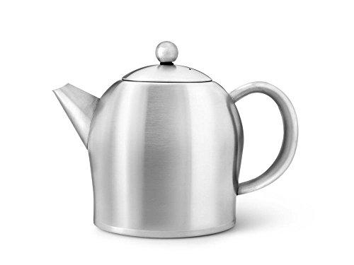 Schöne Teekanne Minuet 1,0 Ltr. mit doppelwandigem isolierendem Edelstahlmantel matt von Bredemeijer 3306MS. (Z148)