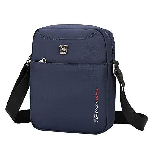 OIWAS Bolso Hombre Bandolera Pequeña Azul Bolsa de Viaje Bolsita para Hombres Messenger Bag Cruzada Impermeable para Ocio Vacaciones Excursión Caminata y Senderismo