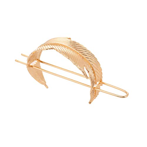Vintage Leaf Hair Stick Alloy Feather Hair Cuff Bun Women Minimalist Bun Holder Cage Hair Stick Wedding Hair Accessories (Gold)