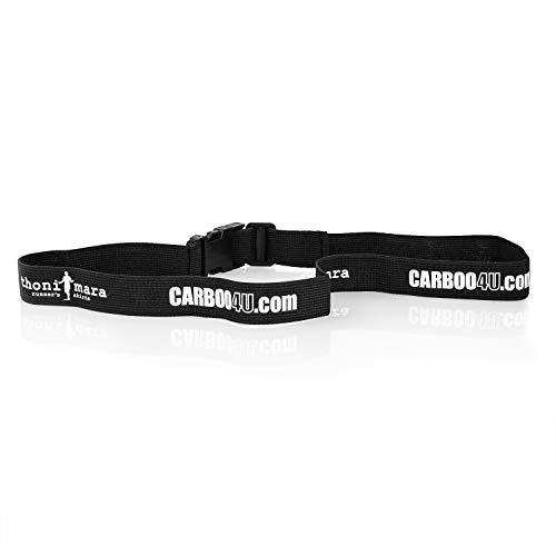 Carboo4U Thoni Mara Unisex Laufnummernband in schwarz   Startnummernband mit und ohne Druckknöpfen   Ideal für Marathon, Triathlon, Laufen, Radfahren