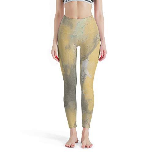 Bannihorse Leggings elásticos para mujer, con textura de mármol, 4 vías, cintura alta, pantalones elásticos, pantalones de gimnasia para correr, leggings cortos, color blanco