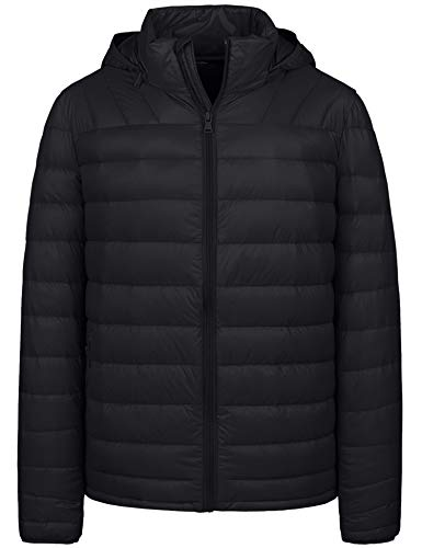 Wantdo Men's Packable Ultra Light Down Jacket with Removable Hood(Black,S)