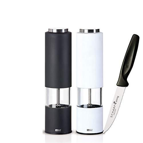 AdHoc Mühlenset Pfeffer + Salz TROPICA elektrisch plus SCHARFsinnig Pizza- und Steakmesser ultra-sägescharf