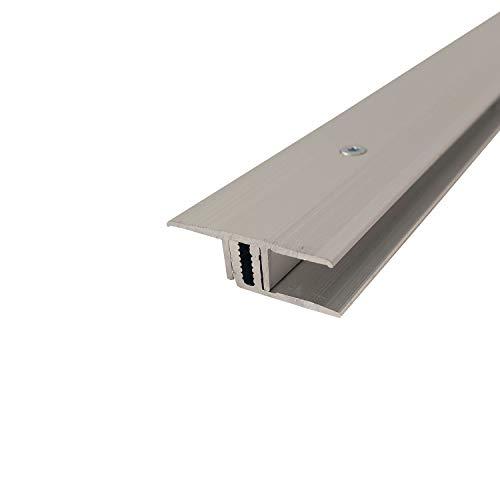 ufitec Profilsystem für Parkett- und Laminatböden - für Belagshöhen von 7-16 mm - viele Farben lieferbar (Übergangsprofil 100 cm lang | 33 mm Breit, Silber)