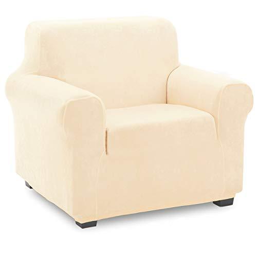 TIANSHU Samt Sesselbezug,Soft Velvet Plush Couchbezug stilvolle Luxus-Möbelbezüge Anti-Rutsch-High Stretch Sesselbezug(1 Sitzer,Beige)