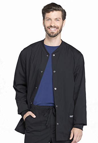 CHEROKEE Workwear WW Professionals Mens Men's Snap Front Jacket, WW360, M, Black