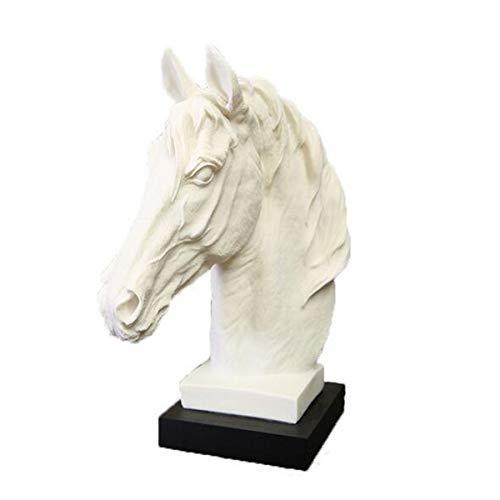 KKUUNXU Escultura Abstracta de Cabeza de Caballo Blanco, Estatua de Resina de Animal, Adornos de Resina geométricos Decorativos para el hogar Moderno, Regalo para Montar a Caballo