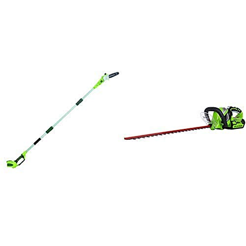 Greenworks 8' 40V Cordless Pole Saw, Battery Not Included 20302 with 24-Inch 40V Cordless Hedge Trimmer, 2.0 AH Battery Included 22262