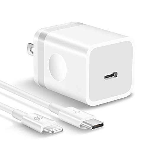 ARCCRA Upgraded 20W USB C Wall Charger Plug with 6ft Fast Charging Cable, PD Charging Block for iPhone and iPad, Compatible with iPhone 12/11/Pro Max/XS/XR/X/8/Plus/SE2/iPad Pro - White