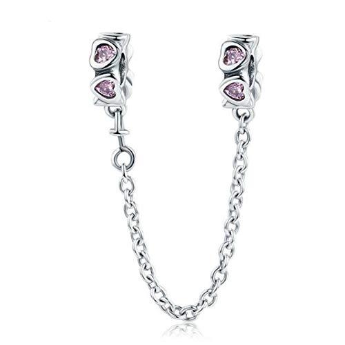 Metetcy - Pulsera de plata de ley 925 con colgante de corazón para mujer, cadena de seguridad para pulseras Pandora, cierre de clip, compatible con pulseras de abalorios europeas