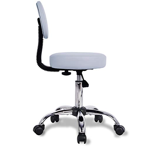 Rolling Stool Chair Adjustable Swivel Office Desk Chair with Back and Wheels for...