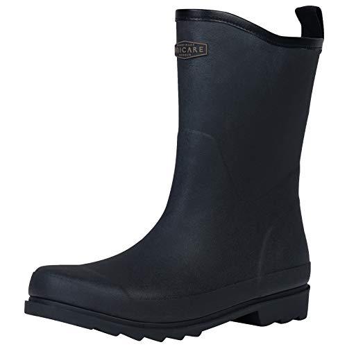 UNICARE Mens Rain Boots Mid Rubber Rain Shoes Waterproof Garden Shoes Anti-Slip Work Boots (Black,Size 8)
