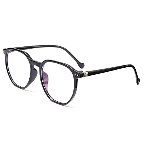 yqs Gafas de Lectura, Eyeaglass de Marco Redondo de Metal Ultraligero Unisex Rayos de radiación de Rayos Azules de Rayos Azules Espejo Plano Gafas (Color : +150, Size : B-Black)