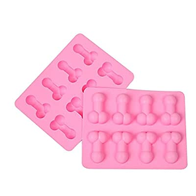 1 Pcs Creative Silicone Mould Funny Shape Ice Cube Tray Novelty Bakeware Cake Chocolate Moulds Pink Sugar Craft Tools Baking Molds 3D Ice Club Mould for Single Party Birthday