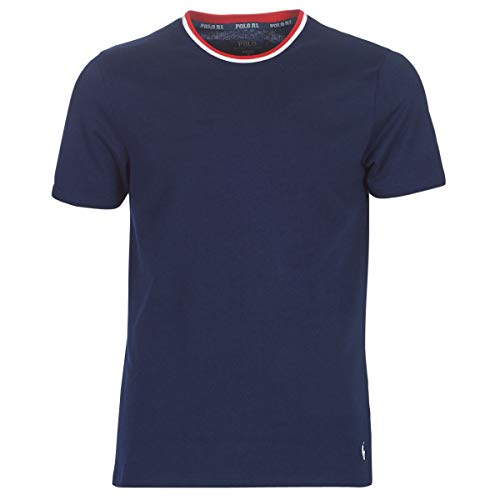 Ralph Lauren - T-Shirt à Manches Courtes pour Homme avec Marine/Blanc/Rouge Marine 714784018002 - Marine, M