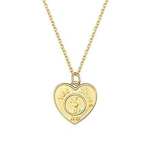 AMTBBK Collar Colgante del Corazón - Collar De Letras De Plata Esterlina 925, Amor Geométrico Flecha De Reloj Patrón De Reloj,45cm