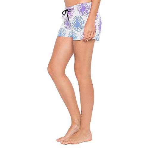 MALPLENA - Pantaloncini da Donna con crisantemi, Asciugatura Rapida, Colore: Viola