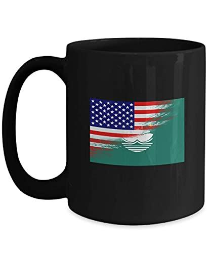 N\A USA Macau Flagge 11oz Schwarze Kaffeetasse Teetasse