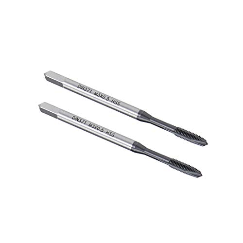 uxcell M3 x 0.5 Spiral Point Threading Tap, H2 Tolerance High Speed Steel TICN Coated, Round Shank with Square End, DIN371/376, 2pcs