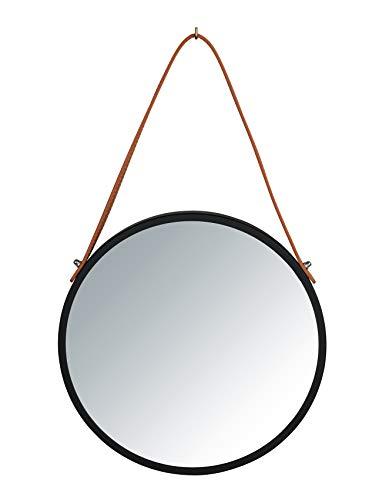 WENKO Espejo de Pared Borrone Redondo, Espejo con Marco de Metal Negro y Correa para Colgar, Espejo Decorativo en diseño Vintage, Cristal y Metal, diámetro de 30 cm, Color Negro