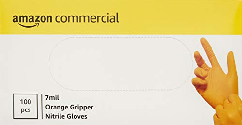 AmazonCommercial Powder Free Disposable Nitrile Gloves, 7 mil, Orange, Tyre-Tread Textured, 240mm,...