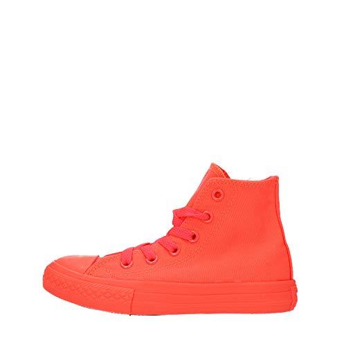 CONVERSE - Sneaker rossa Chuck Taylor All Star cremisi fluo in tessuto, inserto anteriore in gomma, Unisex Bambino, Bambina-38,5