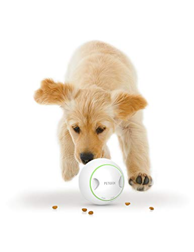 """PETGEEK Automatic Dog Treat Toys for Boredom, FDA Certificate Dog Food Dispensing Ball, Smart Dog Toy InteractiveIQ Training Toy/Treat Dispensing Dog Toys ABS Materia Diameter 5.7"""",White/Green Color"""