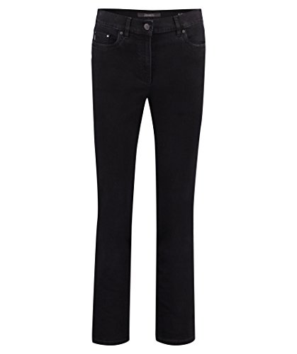 Zerres Damen Jeans CORA Straight Fit Comfort S Strass Stretch, Größe:23, Farbe:09 Black
