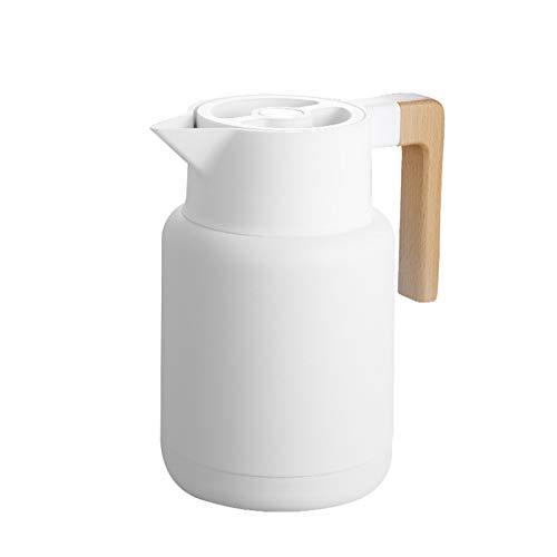 Jroyseter Hervidor de Agua Caliente al vacío de Acero Inoxidable de 1.3L Sello de Doble Espesamiento A Prueba de Fugas Una tecla Presione Vierta Agua Mango de Madera Anti-escaldado para café en casa