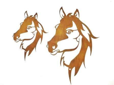 Gartendeko Wand-Dekoration Pferd Pferdekopf zum Hängen Metall Rost Garten verrostet Landhaus Deko 30cm x 45cm