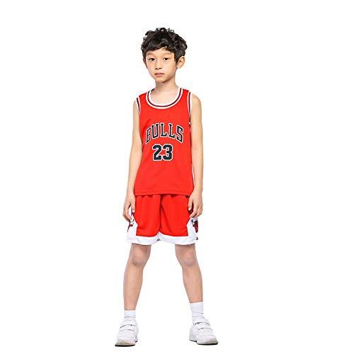 KSWX Camiseta de Baloncesto Niño Bulls 23 Michael Jordan Traje De Entrenamiento De Baloncesto Infantil para Hombres Y Mujeres Secado Rápido Transpirable,Red,M