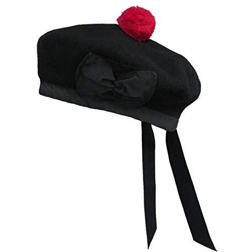 Schottische Balmoral-Mütze aus 100% Wolle, schwarzer Hut Gr. 14.5, Schwarz