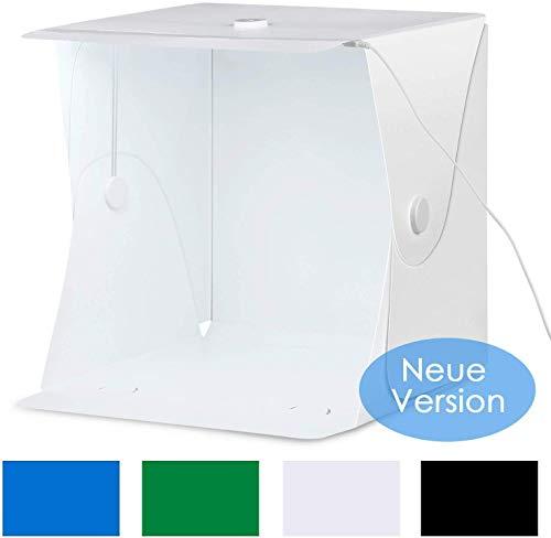 amzdeal Lichtzelt Fotostudio 40×40cm Leuchtkasten Tragbare Faltbare Studiobox mit Halterung zu festen und 30 LED Beleuchtung, Fotozelt Tragbare...