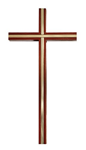 James Brennan Wooden Walnut Finish Latin Wall Cross with Fitted Gold Tone Inlay, 10 Inch