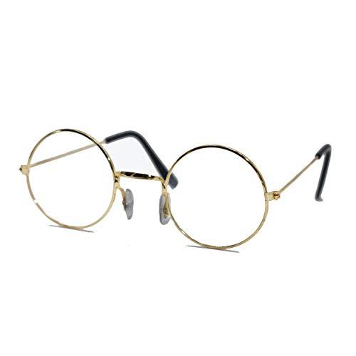L+H Weihnachtsmann Brille | Hochwertige Nikolaus Brille in der Farbe Gold mit runden Gläsern | Santa Claus Glasses | ideal als Zubehör zum Weihnachtsmann-Kostüm