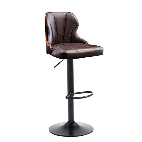 Chaise de Petit Déjeuner Hautes Cuisine de Petit-déjeuner Bar Tabouret 360 ° Pub pivotant Chaise de Bureau Comptoir Hauteur réglable (60~80cm) PU Siège Max Charge 130 kg (Couleur : Brown)