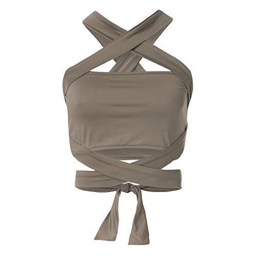 TWIFER Damen Bandage Backless Crop Top Kurz Trägershirts Tank Tops Weste mit Bownot Halfter Off Shoulder Bluse T Shirt Camisole Weste Cami Tank Top