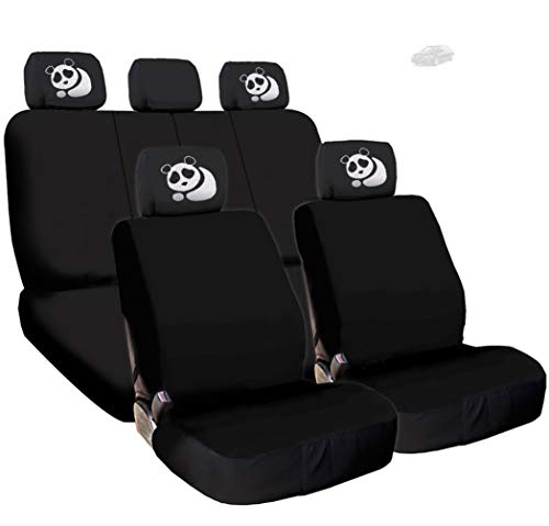 Yupbizauto New Black Flat Cloth Universal Fit Car Seat Covers with Embroidery Logo Headrest Covers Support 60/40 Split Seats (Panda)