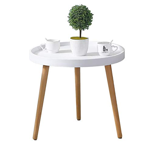 CLIPOP White Round Side Table, Small Coffee Table Sofa Side Table with Wooden Legs (50 * 45cm)